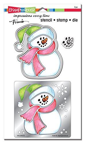STAMPENDOUS MCD8003 Winter Snowman Metal Stencil/Die/Stamp Set