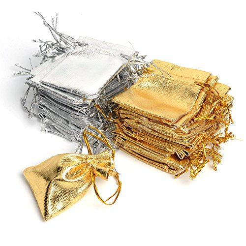 Wuligirl 100 PCS Silver and Gold Organza Bags with Drawstring Party Wedding Favor Gift Bags Candy Earrings Jewelry Bags (100 pcs Mix Gold Silver, 3.54x4.72)