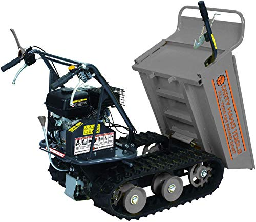 Dirty Hand Tools | 101872 | All Terrain Power Cart with 6.5 HP 196cc Engine | 7 Inch Wide Tracks | 4 Speed Transmission | 660 Pound Load Capacity with Tipping Handle and Removable Sides