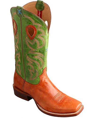 Twisted X Men's Ruff Stock Lime Cowboy Boot Square Toe Cognac 12 D(M) US