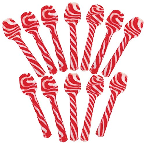 Peppermint Flavored Hard Candy Spoons, Pack of 12 Candies, Children Party Favors, Birthday Party Goody for Kids Boys and Girlsindividually wrapped, By 4E's Novelty (Peppermint)]()