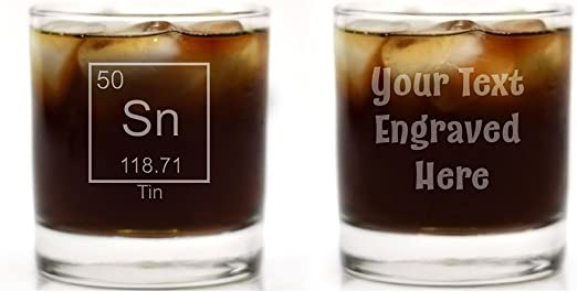 Engraved Tin 10th Anniversary Periodic Table of Elements Glass Glass With a Twist GWAT-E-Rocks-Element-Tin-1