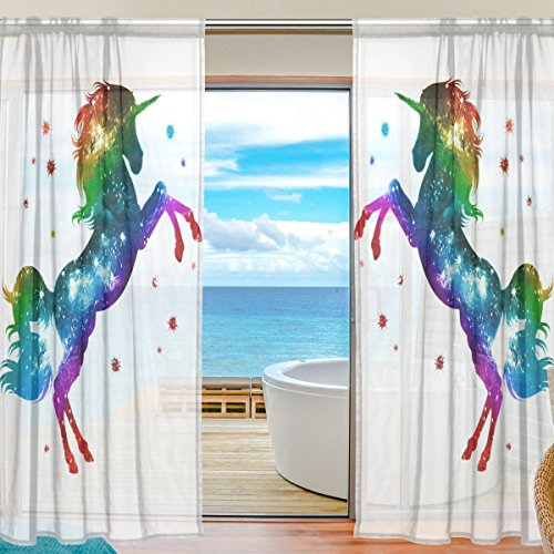SEULIFE Window Sheer Curtain, Rainbow Animal Unicorn Star Glitter Voile Curtain Drapes for Door Kitchen Living Room Bedroom 55x78 inches 2 Panels by SEULIFE