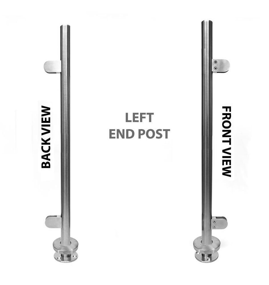 Stainless Steel 316 [Marine Grade] Handrail Railing Systems 1-1/2''OD Round Left End Post with Round Glass Clamps for 3/8'' or 1/2'' Glass Thickness, Height 36''