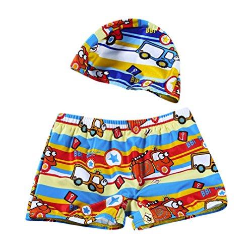 Hot Sale! 2Pcs Set Swimwear, Kids Baby Boys Cartoon Print Stretch Beach Swimsuit Trunks Shorts+Swim Hat (Orange, 24M)