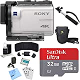 Sony FDR-X3000 4K GPS Action Camera, Selphie Stick, 32GB Card, and Accessory Bundle - Includes Camera, Selfie Stick, 32GB Micro Memory Card, Carrying Case, Battery, Battery Charger, and More