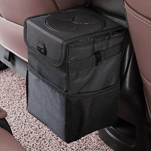 mixigoo Car Trash Garbage Bag Can - Car Trash Can with Lid and Storage Pockets Leak-Proof Vinyl (Lids Car)