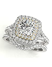 TVS-JEWELS Two Tone Plated 925 Sterling Silver Cubic Zirconia Wedding Bridal band Engagement Ring Set