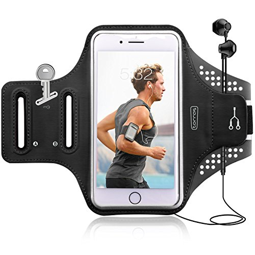 Cell Phone Armband, Torras Adjustable Sport/Running/Exercise Workout Arm Band with Screen Touch & Key Holder for iPhone X/ 8/ 7Plus/ 6Plus-Hiking, Biking, Walking