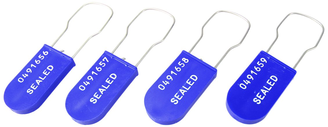 Accuform TLS123BU Plastic Padlock Wire Seals, Printed''SEALED'' and Random Start Sequential Numbering, Blue (Pack of 100)