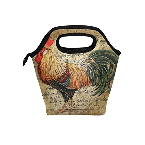 Florence Vintage Rooster Art Cooler Warm Pouch Lunch Bags Lunchbox For School Work Portable Meal Handbags Food Container Tote For Picnic