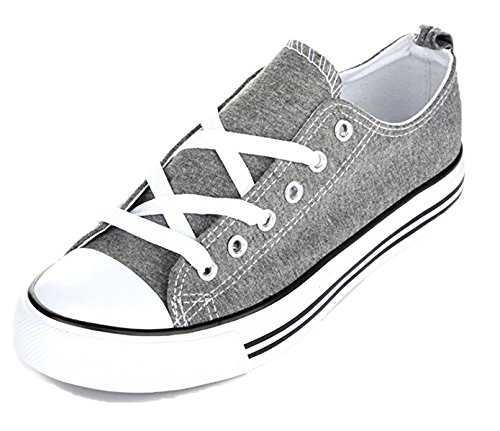 Shop Pretty Girl Women's Sneakers Casual Canvas Shoes Solid Colors Low Top Lace up Flat Fashion (10Ten, Grey) (Canvas Flat Shoes)