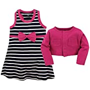 Hudson Baby Girls' Cropped Cardigan and Racerback Dress, Pink/Navy Stripes, 6-9 Months