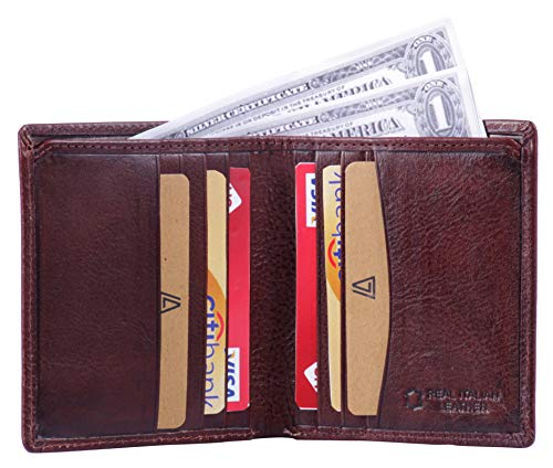Leather Architect -Men's Real Italian Leather Bifold Wallet with Vertical Credit Card Slots and RFID blocking-Brown