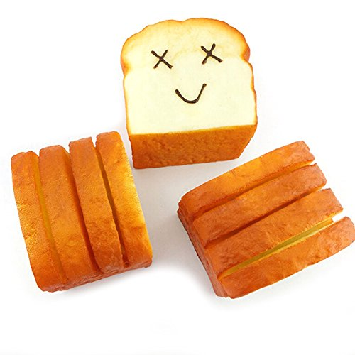 Aland Toast Bread Expression Card Cellphone Holder Hand Pillow Stress Reliever Brown Random ()