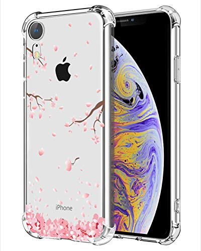 Hepix Floral iPhone XR Case Cherry Blossom Clear XR Cases Soft Flexiable Protective Cover Cases TPU Frame Anti-Scratch Shock Absorbing Case with Reinforced Bumper for Apple iPhone XR (2018) 6.1