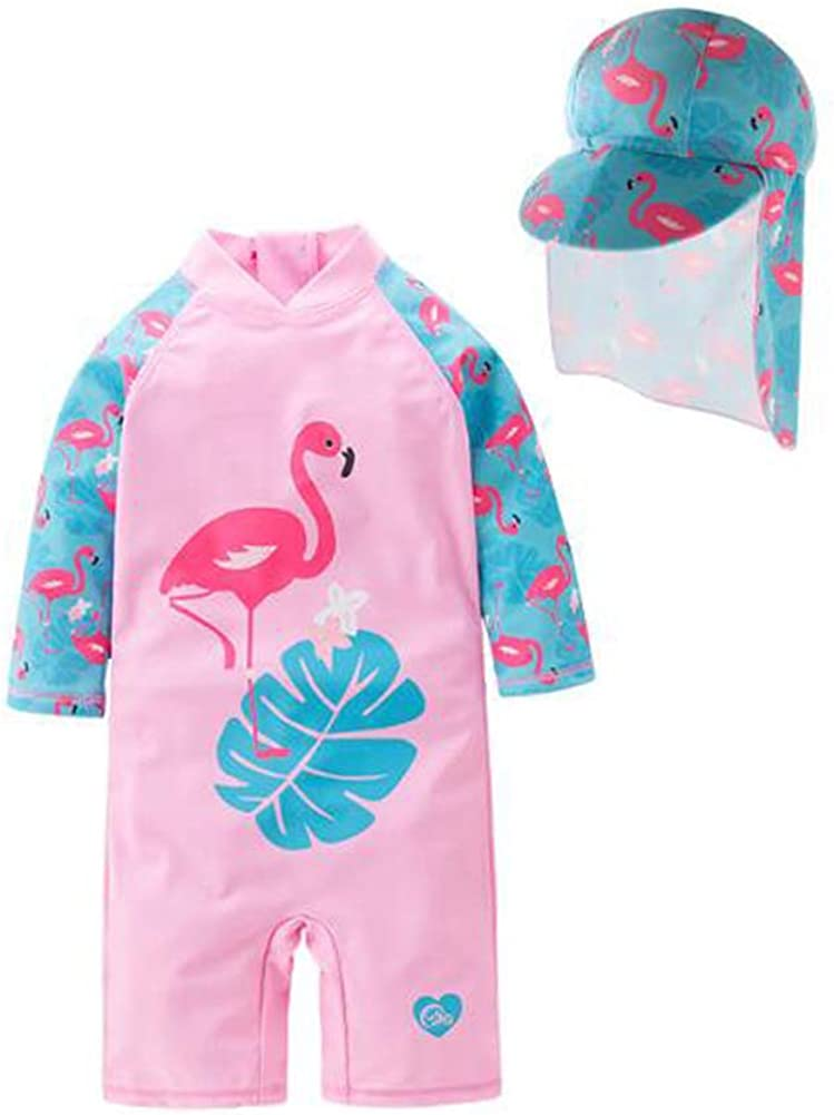 LIBOLI Baby Girls One-Piece Rash Guard Sunsuit Swimsuit Swimwear UPF 50+