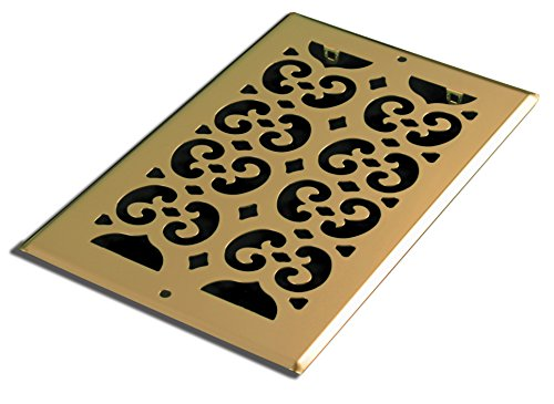 Decor Grates SP612R Scroll Steel Plated Return Air, 6 x 12-Inch, Brass -