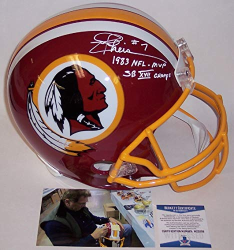 Joe Theismann Autographed Hand Signed Washington Redskins Full Size Football Helmet - with 1983 NFL MVP and SB XVII Champs inscription - BAS ()