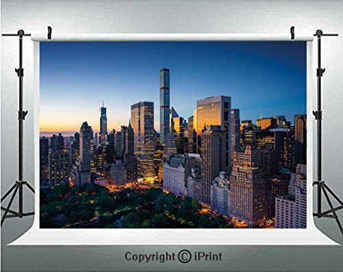 City Photography Backdrops Sun Rising Over Central Park in Manhattan Tranquil Morning Skyscrapers,Birthday Party Background Customized Microfiber Photo Studio Props,8x8ft,Blue Marigold Dark Green]()