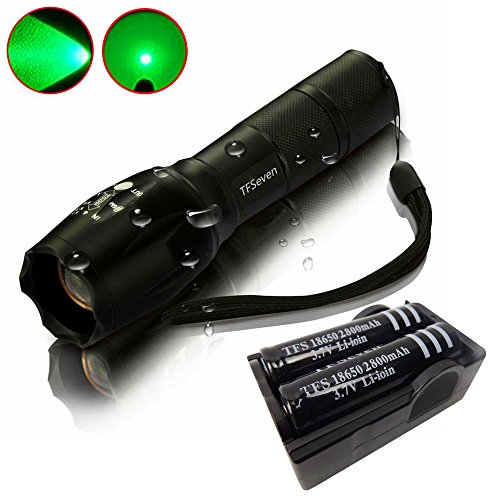 Green Light Flashlight , TFSeven Zoomable Scalable LED Flashlight 3W Cree-xml T6 Waterproof 700 Lumen Tactical Lampe Torch Glim Lantern with 2* 18650 2800Mah 3.7v Rechargeable Battery&Charger (3w Led Tactical Flashlight)