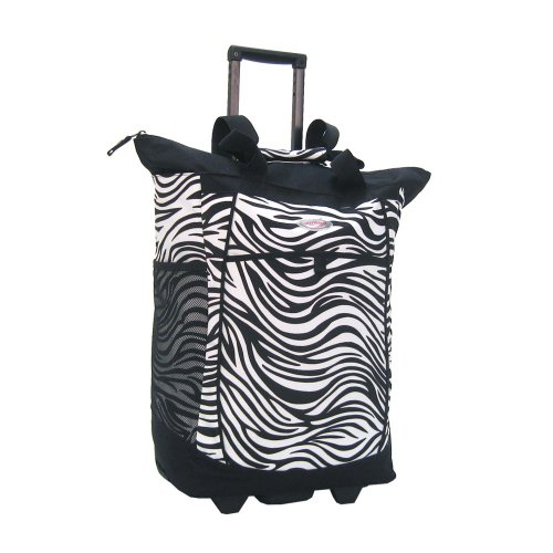 Olympia Fashion Rolling Shopper Tote - Zebra Black, 2300 cu. in.