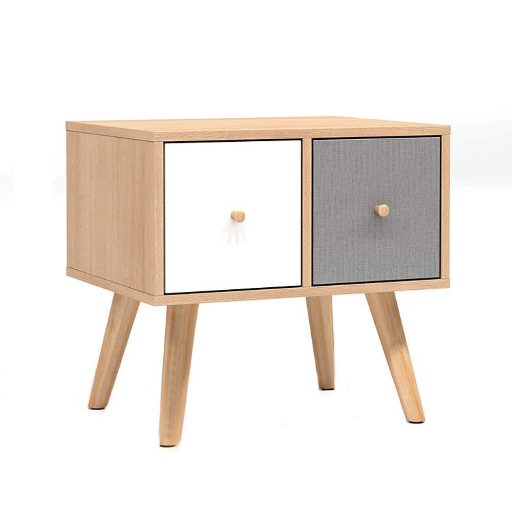 XINGZHE ベッドサイドテーブル - シンプルな北欧のベッドルームのベッドサイドダブル引き出しロッカーリビングルーム引き出し多機能ストレージ環境にやさしい家具 ベッドサイドテーブル B07SH559H6
