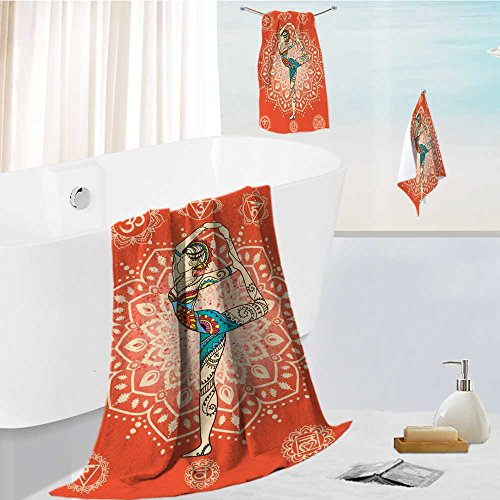 Jiahonghome Luxury Hotel Bath Towel Set - 3 Pieces ornament beautiful card with vector yoga geometric element hand drawn perfect cards for any 100% Turkish Soft -
