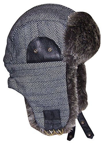N'Ice Caps Boys Tweed Trapper With Faux Fur Lining (59cm (Teens), Grey/Black Tweed)