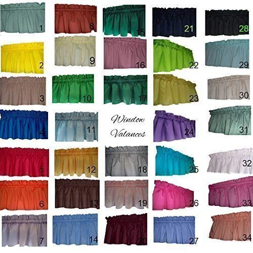 Solid valance curtains Sage Green, Bright Yellow, Khaki, Royal Blue, Red, Orange, Lavender, Rust, Off-White, Kelly Green Valance Curtain. 58