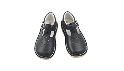 L'Amour Girls T-Strap Mary Janes Black Leather School / Dress Shoes (