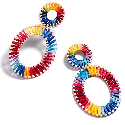 Geometric Octagon Hoop Earrings Raffia Handmade Earrings Statement Earrings Rattan Dangle Earrings for Women (B2#Raffia Rainbow)