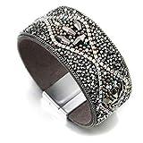 Leather Rhinestones Beads Gold Wrap Bracelet for Women Men Charm Bracelet Classic Girls