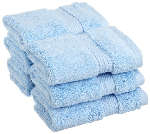 Superior 900 GSM Luxury Bathroom Face Towels, Made of 100% Premium Long-Staple Combed Cotton, Set of 6 Hotel & Spa Quality Washcloths - Light Blue, 13 x 13 each