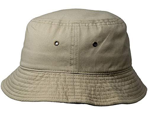 - SH-220-17-SM Vintage Fitted Safari Bucket Hat: Solid Khaki (S/M)