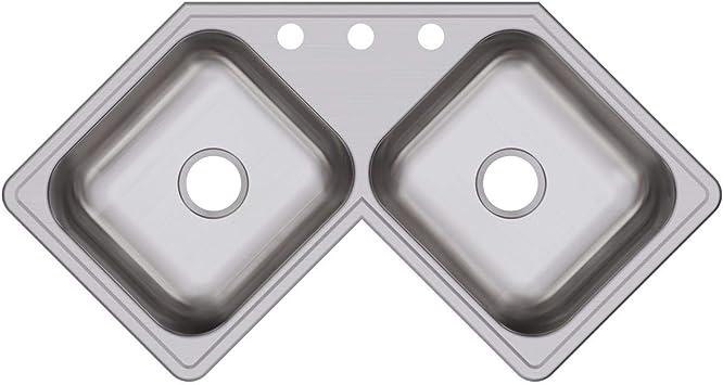 Elkay De217323 Dayton Equal Double Bowl Stainless Steel Corner Sink Corner Kitchen Sink