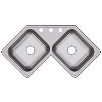 Elkay DE217323 Dayton Equal Double Bowl Stainless Steel Corner Sink