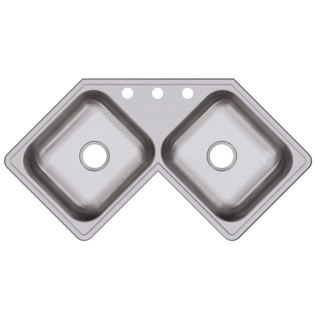 Elkay DE217323 Dayton Equal Double Bowl Stainless Steel Corner Sink by Elkay (Image #1)