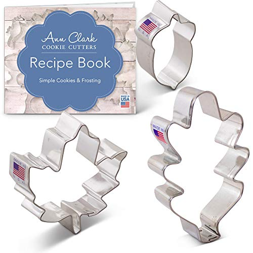 Autumn/Fall/Thanksgiving Cookie Cutter Set with Recipe Booklet - 3 Piece - Oak Leaf, Maple Leaf and Acorn - Ann Clark - USA Made Steel -