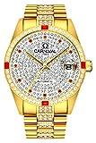 Luxury Men Automatic Mechanical Business Calendar Stainless Steel Military Rhinestone Waterproof Watch (Gold)