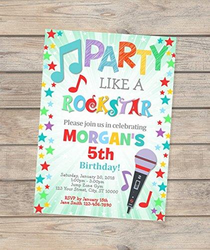 Karaoke Birthday Invitation, Party Like A Rockstar Invitation, Rockstar Birthday Invitation, Karaoke Party Invitation, Digital Or Printed ()