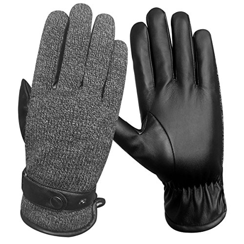 LETHMIK Mens Touchscreen Winter Gloves Acrylic Knit&PU Faux Leather Warm Thick Fleece Lined (Acrylic Fleece)