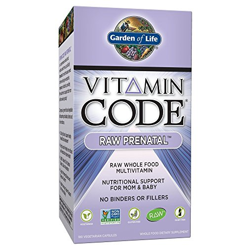 Garden of Life Vitamin Code Raw Prenatal Vegetarian Multivitamin Supplement with Folate, Iron, Probiotics & Ginger | Non-GMO, Dairy & Gluten Free, Best Whole Food Vitamin for Mom & Baby, 180 Capsules