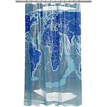 croydex ae580815yw world map shower curtain white blue. Black Bedroom Furniture Sets. Home Design Ideas