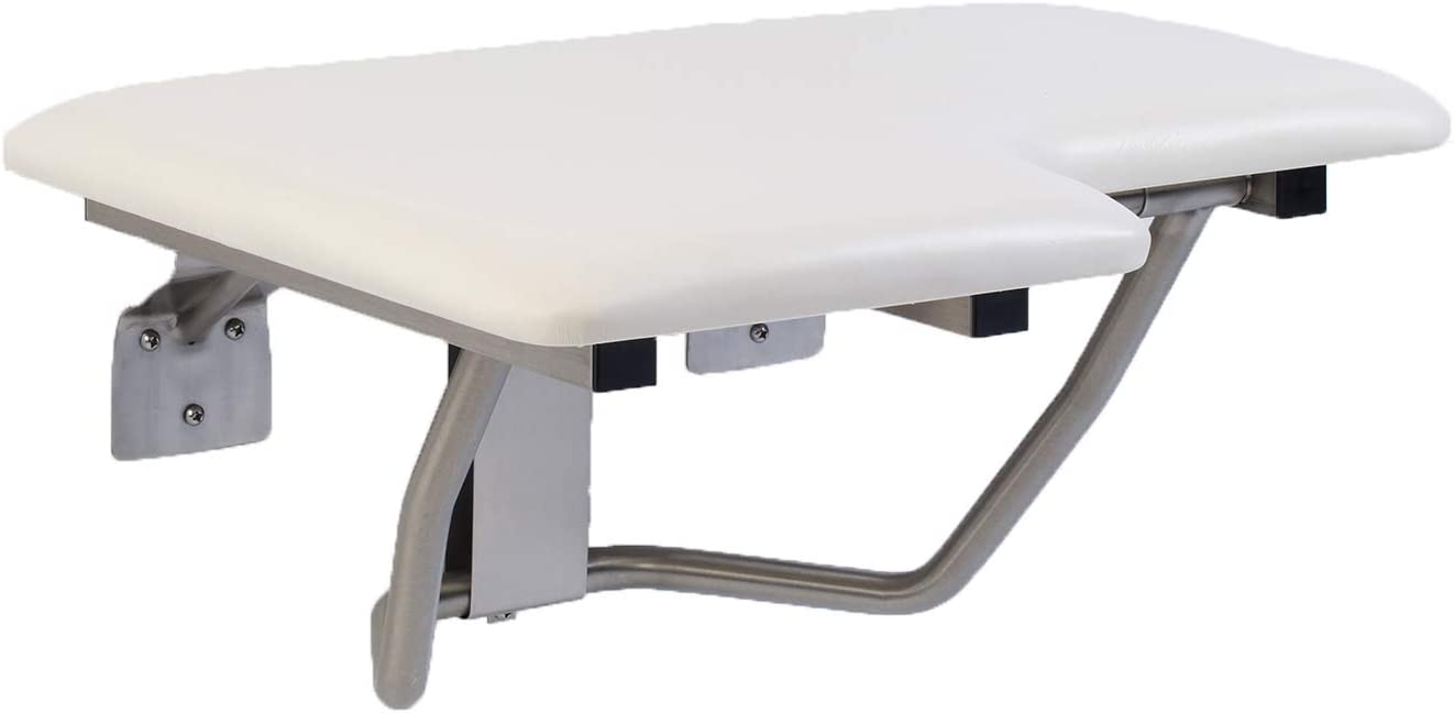 GBS Lifeline Padded Folding Shower Seat – Right Hand | Wall Mount | White Pad | 28 x 21 inch 51884-2TESLSL1500_