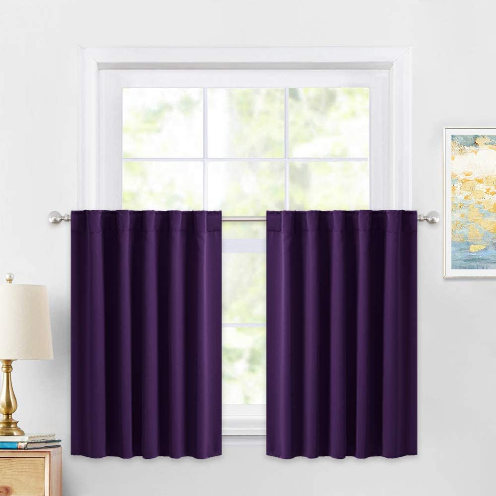 PONY DANCE Window Covering Tiers - Decorative Rod Pocket Curtains Energy Saving Small Valances for Kitchen/Match with Drapes Set, 42 W x 36 L, Royal Purple, Pack-2