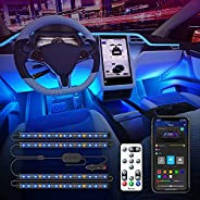 Govee Interior Car Lights with APP Control and Remote Control, 16 Million Colors Music Sync Car LED Lights, 7
