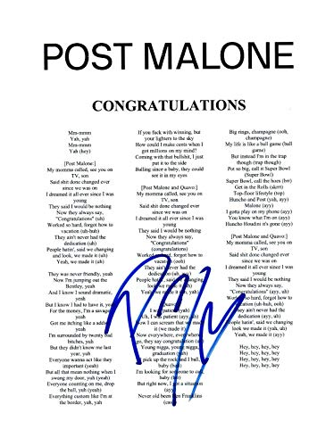 Post Malone Signed Autographed CONGRATULATIONS Song Lyric Sheet Proof + COA R