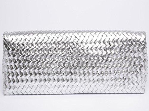 JOSYBAG Ledertasche MÜNCHEN - silber/geflochten - LEDER Clutch handgefertigt ledergefüttert WELTKLASSE VLmw4OB5Z