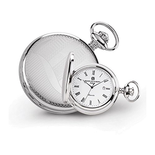 Charles Hubert Stainless Steel Wave Design Pocket Watch by Jewelry Adviser Charles Hubert Watches